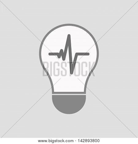 Isolated Line Art Light Bulb Icon With A Heart Beat Sign