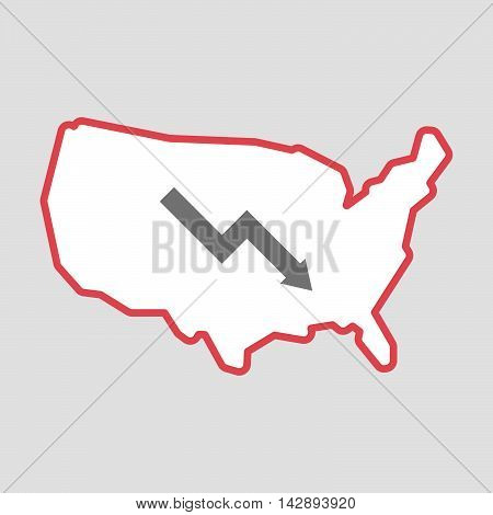 Isolated Line Art  Usa Map Icon With A Descending Graph