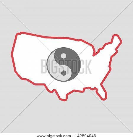 Isolated Line Art  Usa Map Icon With A Ying Yang