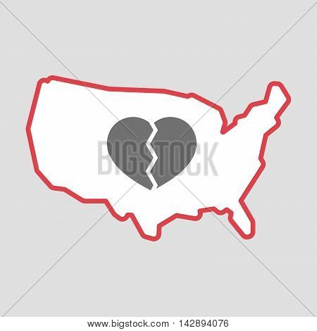 Isolated Line Art  Usa Map Icon With A Broken Heart