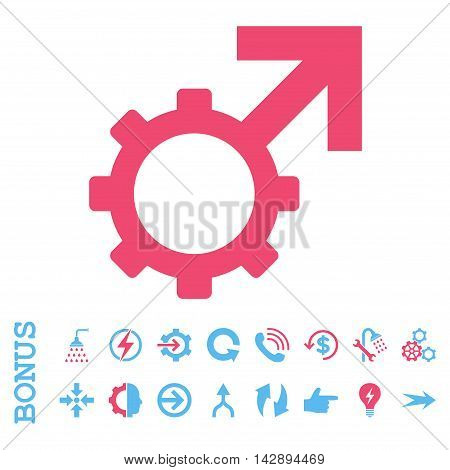 Technological Potence vector bicolor icon. Image style is a flat iconic symbol, pink and blue colors, white background.