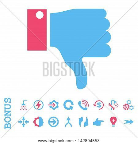 Thumb Down vector bicolor icon. Image style is a flat pictogram symbol, pink and blue colors, white background.