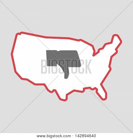 Isolated Line Art  Usa Map Icon With A Thumb Down Hand