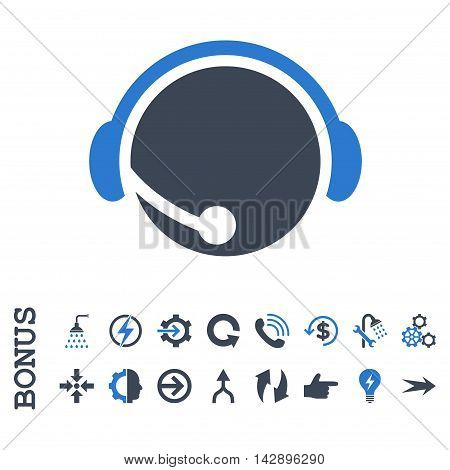 Call Center Operator vector bicolor icon. Image style is a flat pictogram symbol, smooth blue colors, white background.