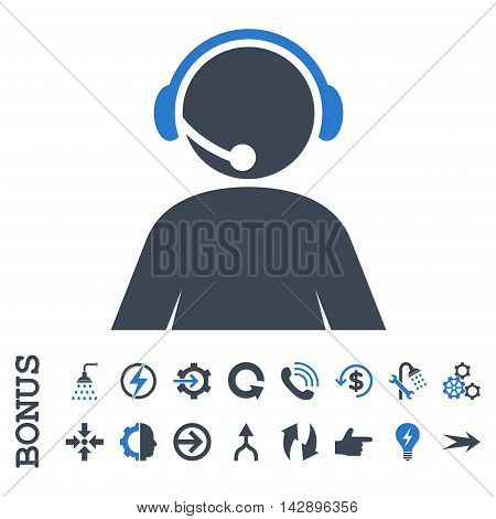 Call Center Operator vector bicolor icon. Image style is a flat iconic symbol, smooth blue colors, white background.