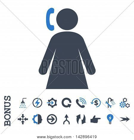 Calling Woman vector bicolor icon. Image style is a flat pictogram symbol, smooth blue colors, white background.