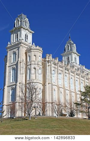 Exterior of Manti Temple in Utah, USA