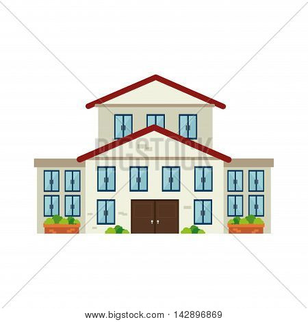 house modern residential real home building exterior residence vector  illustration isolated