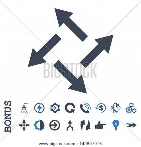 Centrifugal Arrows vector bicolor icon. Image style is a flat iconic symbol, smooth blue colors, white background.