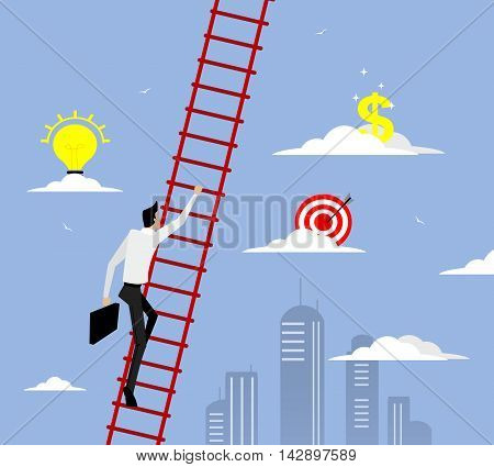 Businessman with suitcase climbing the stairs of success up to the sky. Flat style vector illustration.