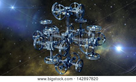 3D rendering of an alien spaceship in interstellar travel