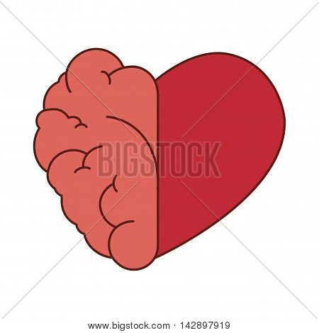 brain heart love mind red think organ human half vector illustration isolated