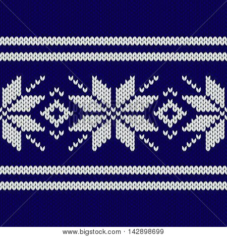 Dark blue nordic knitted seamless pattern vector illustration