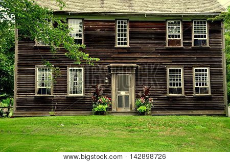 Jamestown Rhode Island: The 1796 wood frame colonial farmhouse at the historic Watson Farm on Conanicut Island