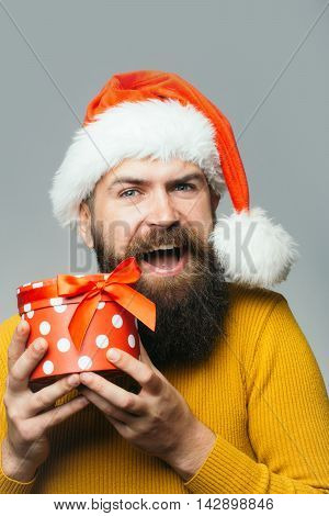 New Year Man With Present Box