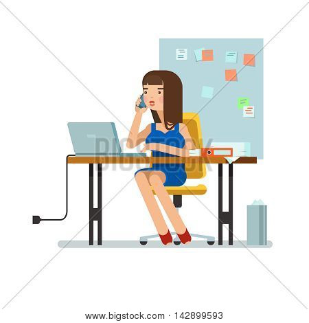 Vector illustration of secretary sitting at the table working workplace with office papers laptop talks on phone in isolated. Design concept of the secretary or administrator in office workplace