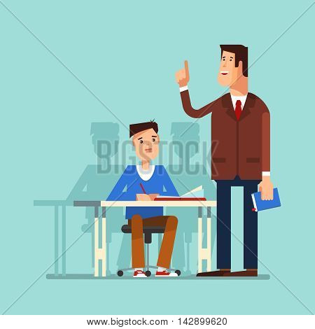 Vector illustration of a school boy sitting at a school desk and teacher in the classroom. The teacher teaches a lesson for students or school boyon a blue background. The design concept of education