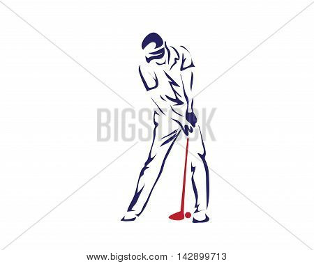 Modern Golf Logo - Blue Golfer With Putter Symbol
