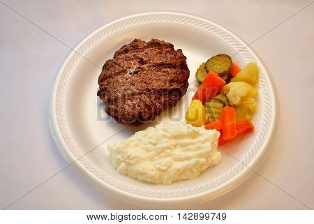 Healthy Meal of Lean Meat Pickled Vegetables and Cottage Cheese