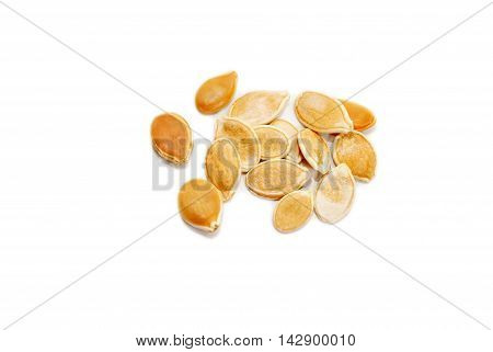 Dried Pumpkin Seeds Isolated Over a White Background