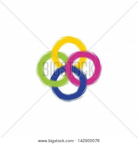 Four intersecting colored rings with ragged edges. Vector illustration.