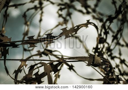 stabbing sharp wire on the fence of the protected objec .tblack and white background