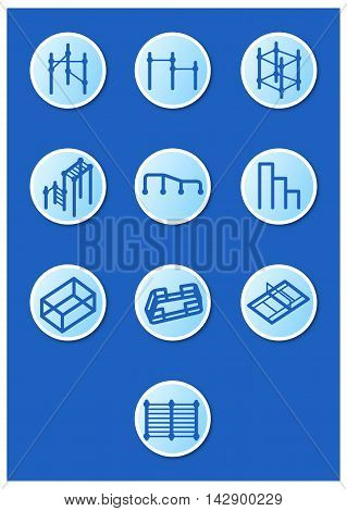 A set of icons sports equipment for extreme sports on the blue background