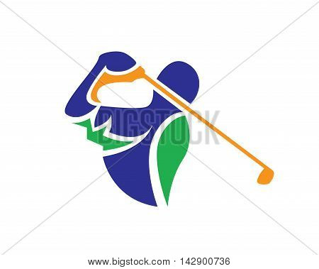 Modern Golf Logo - Abstract Swing Symbol