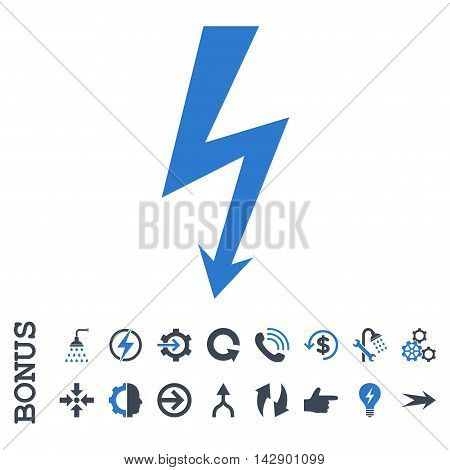 High Voltage vector bicolor icon. Image style is a flat pictogram symbol, smooth blue colors, white background.