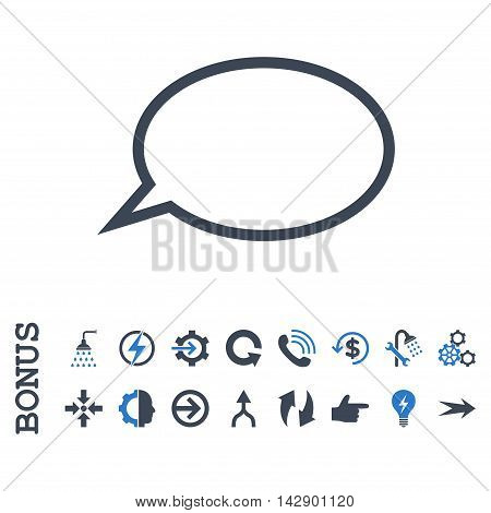 Hint Cloud vector bicolor icon. Image style is a flat pictogram symbol, smooth blue colors, white background.
