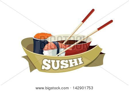 Vector logo with sushi, traditional japan food. tamplate for cover or emblem design. Illustrations with place for your text isolate on white background