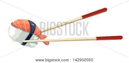 Vector illustration of Chinese chopsticks with shrimp, traditional japan food. tamplate for emblem design.