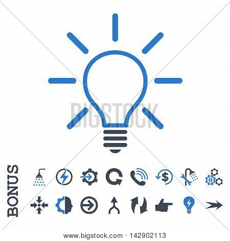 Light Bulb vector bicolor icon. Image style is a flat iconic symbol, smooth blue colors, white background.