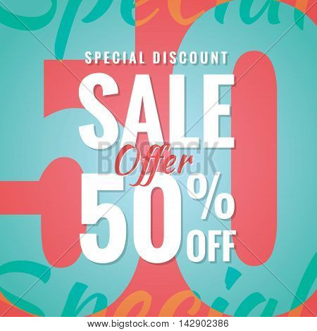 Special Discount Sale 50 Percent Heading Simple Modern Design For Banner Or Poster. Sale And Discoun