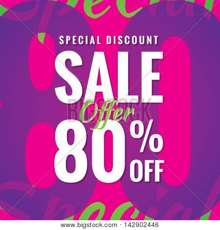 Special Discount Sale 80 Percent Heading Simple Modern Design For Banner Or Poster. Sale And Discoun