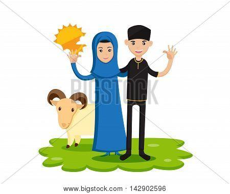 Isolated Muslim Couple Eid Al Adha Character - Happy Family Eid al-Adha Celebration