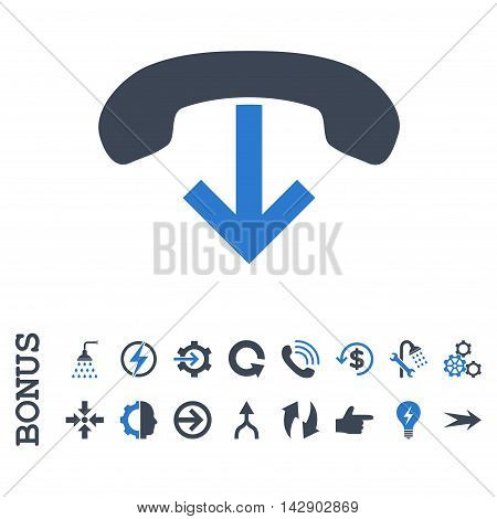 Phone Hang Up vector bicolor icon. Image style is a flat pictogram symbol, smooth blue colors, white background.