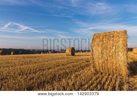 Straw round bales in the field and wind turbine generators on horizon