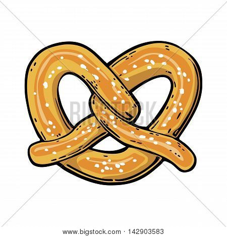 Pretzel. Vintage vector flat illustration for web, poster, invitation to beer party. Hand drawn design element isolated on white background.