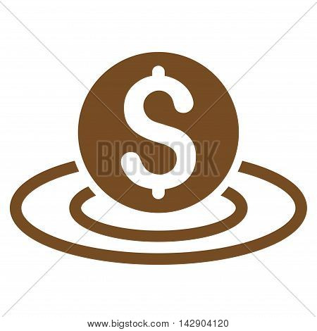 Dollar Coin Area icon. Vector style is flat iconic symbol with rounded angles, brown color, white background.