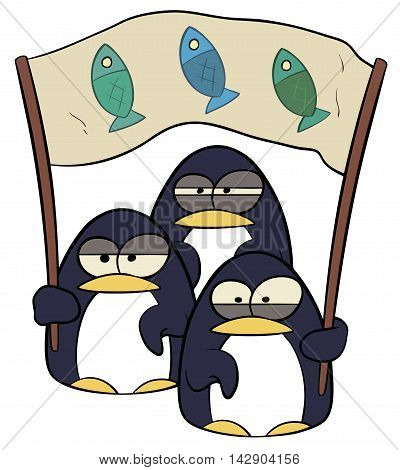 A vector illustration of cartoon penguins with banner