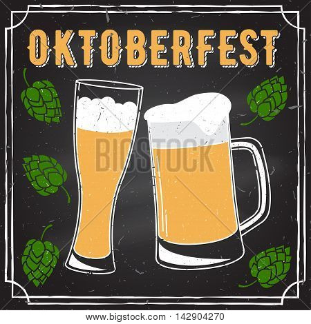 Retro vintage design. Oktoberfest poster with two flat beer mugs on chalkboard. Vintage Beer Brewery. Oktoberfest vector illustration.