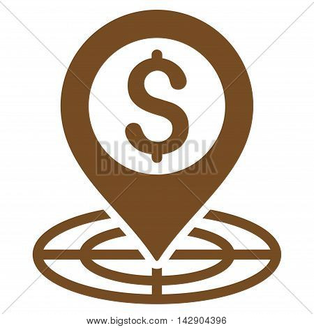 Financial Crosshair icon. Vector style is flat iconic symbol with rounded angles, brown color, white background.