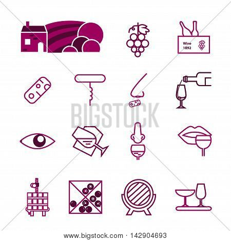 Wine vinous icons collection. Modern outline style. Can be used for wine shop wine company and club for typographic purpose