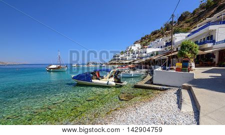 Sea bay with clear water at Loutro town on Crete island