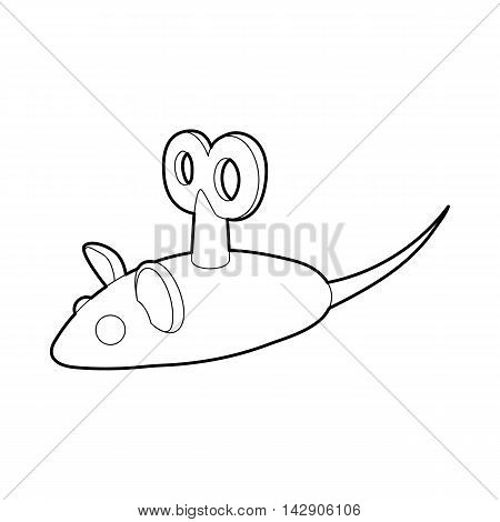 Clockwork mouse icon in outline style isolated on white background. Toy symbol