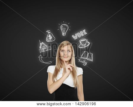 Pensive young businesswoman thinking about future job education and financial growth on dark background