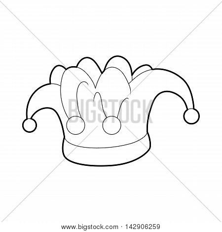 Hat clown icon in outline style isolated on white background. Headwear symbol