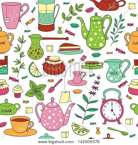 Tea time seamless pattern. Teapots, cups, leaves, cupcakes and sweets hand drawn on a white background. Vector illustration in cartoon style.
