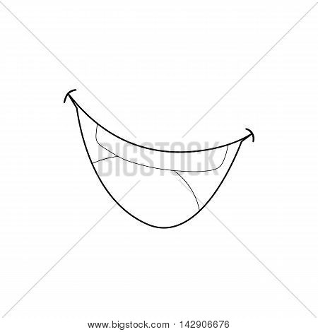 Mouth clown icon in outline style isolated on white background. Jester symbol